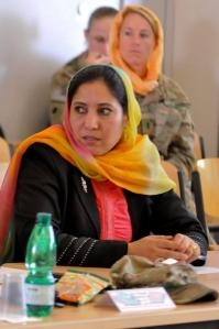 By NATO Training Mission-Afghanistan (120328-N-IN097-088) [CC BY-SA 2.0 (http://creativecommons.org/licenses/by-sa/2.0)], via Wikimedia Commons [CAMP MARMAL, Balkh province, Afghanistan – An Afghan woman listens intently to development proposals presented by prominent women throughout the northern region of Afghanistan during the Female Shura March 28. The shura focused on on the Afghan Peace and Reintegration Program, followed by development projects to enhance the quality of life in Afghanistan in support of the International Security Assistance Force efforts. (U.S. Navy Photo by Mass Communication Specialist 1st Class Christophe Laurent)]