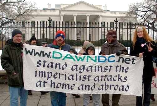 """Members of DC Anti-War Network protest a U.S. invasion of Iraq at the White House, three weeks before the attack."" By Carolmooredc (Own work) [CC BY-SA 3.0 (http://creativecommons.org/licenses/by-sa/3.0) or GFDL (http://www.gnu.org/copyleft/fdl.html)], via Wikimedia Commons"